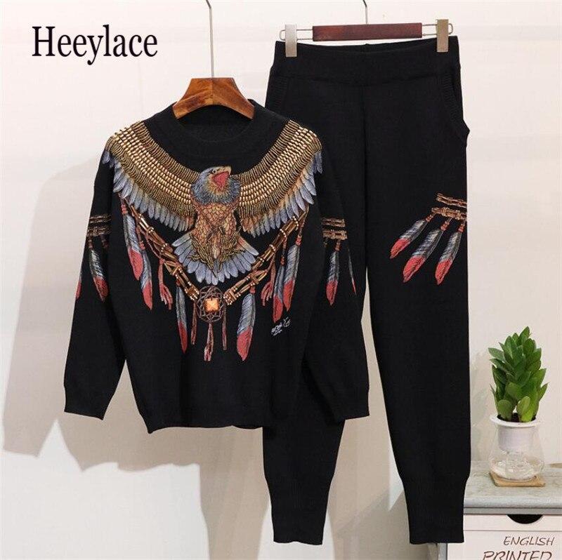 Bonne qualité 2 pièces ensemble hiver à la main perles paillettes aigle à manches longues hauts tricotés pantalons 2 pcs ensembles de vêtements