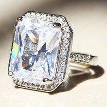 925 sliver sterling Natural Gemstone diamond Ring square Bizuteria Anillos Jewelry for Women Diamond white topaz Rings
