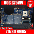 Для ASUS G75V G75VX G75VW 2D /3D HM65 DDR3 Материнская плата для ноутбука протестирована 100% работа оригинальная материнская плата поддержка GTX660M GTX670M