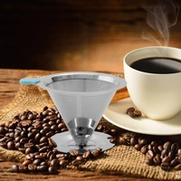 PREUP Paslanmaz Çelik Kullanımlık Kahve Filtre Tutucu Set Demlemek Damla Koni Kahve Süzgeç Huni Metal Örgü Kahve Çay Makinesi Sepeti