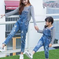 Maggie's Walker The 2017 new Belt pants mother and girls trousers family new loose thin broken hole belt pants family soft pants