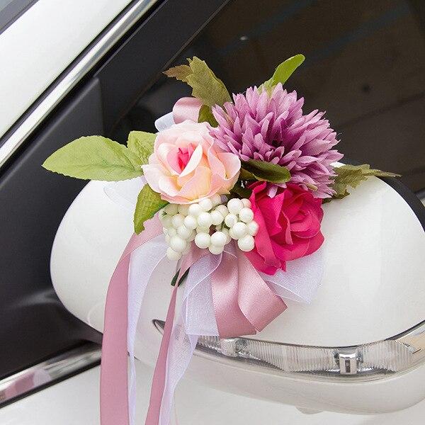 6 Teile Satz Koreanische Hochzeit Auto Blume Dekoration Spiegel