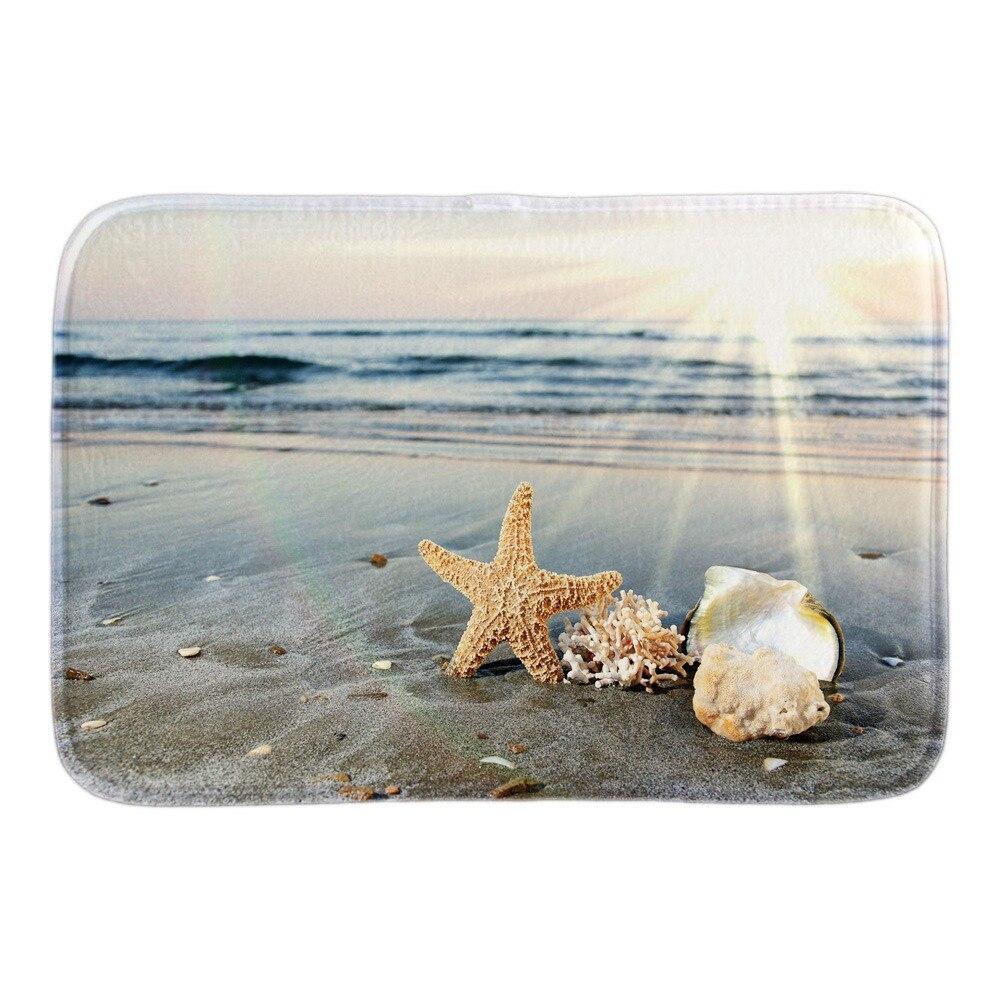 Home Decorative Doormats With Seaside Starfish Shell Soft Lightness font b Indoor b font Outdoor Bathroom