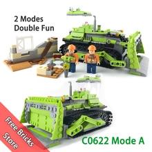 451 PCS WOMA C0622 Совместимый конструктор Legoe City Builder 2 Режимы в 1 комплект Гусеничный бульдозерный кран Модельные строительные блоки Игрушка для детей Подарки