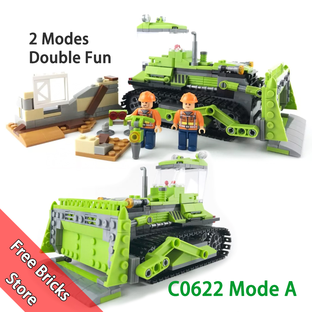 451 PCS WOMA C0622 Compatible Legoe City Builder 2 Modes in 1 Set Crawler dozer Paver Model building blocks Toy for kids Gifts