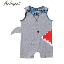 bd3d45f2519d6 Vêtements ARLONEET nouveau-né bébé garçon body sans manches dessin animé  requin imprimé costume enfants été sangle body infantil.