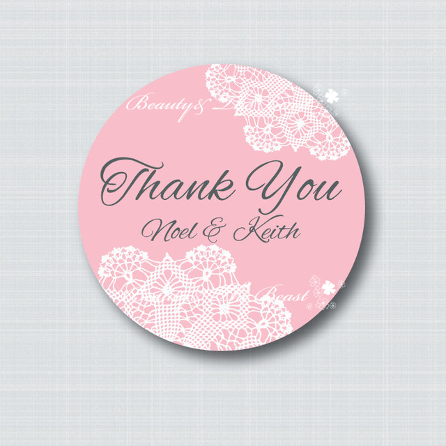Custom Wedding Thank You Sticker Bottle Labels Cupcake Toppers Flower Tags