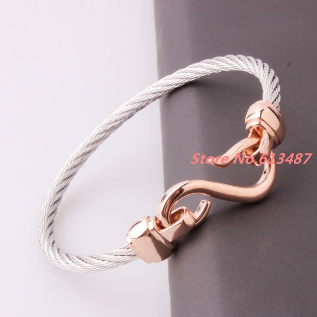 New Fashion 4mm 316L Stainless Steel Twisted Cable Wire Silver & Rose Gold Cuff Chain Mens Womens Bracelets & Bangles Jewelry