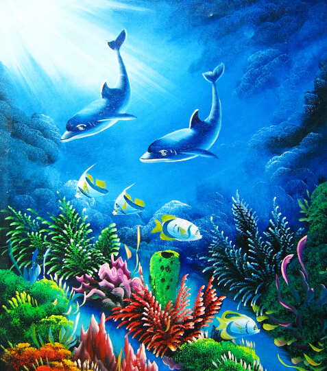 Diamond embroidery painting Two dolphins swim into the sea plastic crafts DIY diamond embroidery diamond patternsets