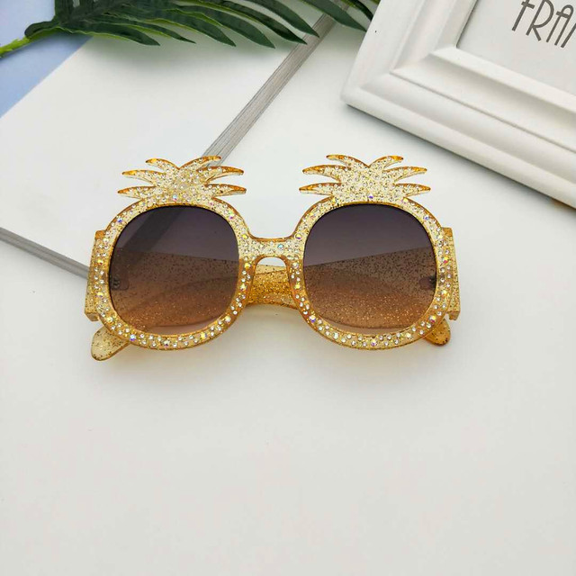 MINCL/New Hot Hawaiian Beach Sunglasses Pineapple Goggles Hen Party Evening Party Dress Up Party Crystal Sunglasses With Box LXL 1