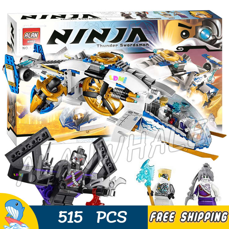 515pcs Ninja Helicopter Ninja Copter Aircraft Nindroid Jet Fighter 10223 Figure Building Blocks Toys Compatible With LegoING
