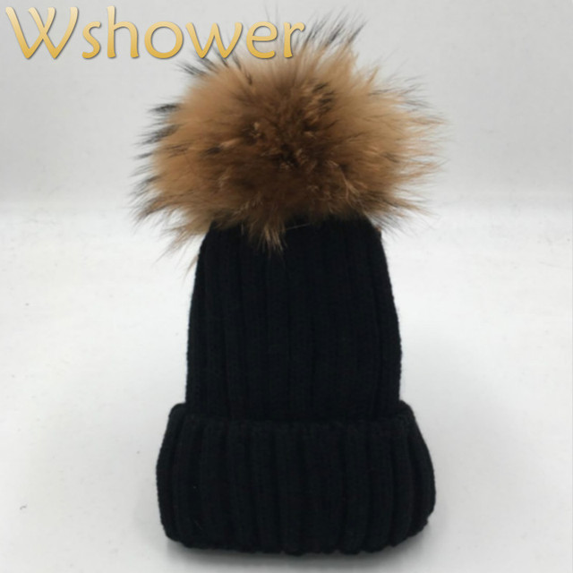 3a6e4dc2bb3  which in shower  Lady Real Raccoon Fur Pom Pom Knit Winter Bobble hat cap  Beanie Women Female Rose Red Gray white Black Fur Hat