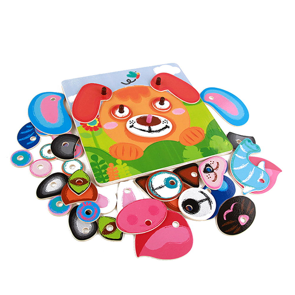 8 Style Cartoon Animal Faces Changing Puzzles For Kids Creative Birthday Gift Changing Faces Jigsaw Puzzle Games Wooden Toys