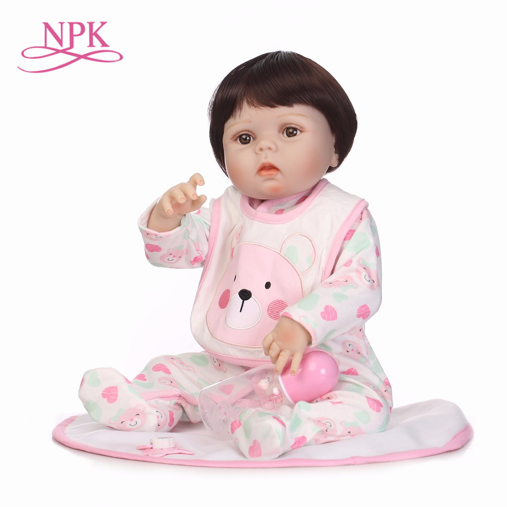 NPK 57CM Full Silicone Body Bebe Reborn Doll Lifelike Baby-Reborn Toys For Babies Kids Bathe Toys Girls Birthday Gift Brinquedos full silicone body reborn baby girl doll toys lifelike 57cm babies born dolls accessories clothes dress birthday gift bathe toy