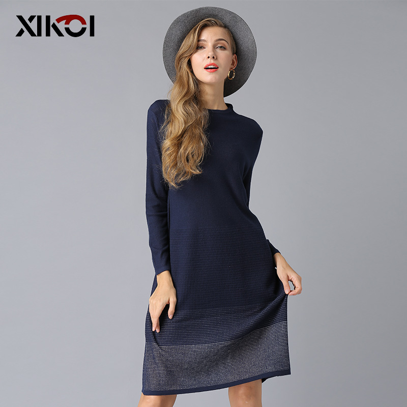 2018 New Female Christmas Sweater Dress Knitted Solid Half-Turtleneck Woman Pullovers Long Sleeve Oversized sweaters Pullover