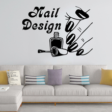Diy Nail Design Vinyl Wallpaper Wall Nail Stickers For Beauty Salon Creative Wall Art Decal Commercial Sticker adesivo de parede