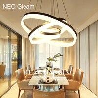 Luxury Modern Chandelier LED Circle Ring Chandelier Light For Living Room Acrylic Lustre Chandelier Lighting White