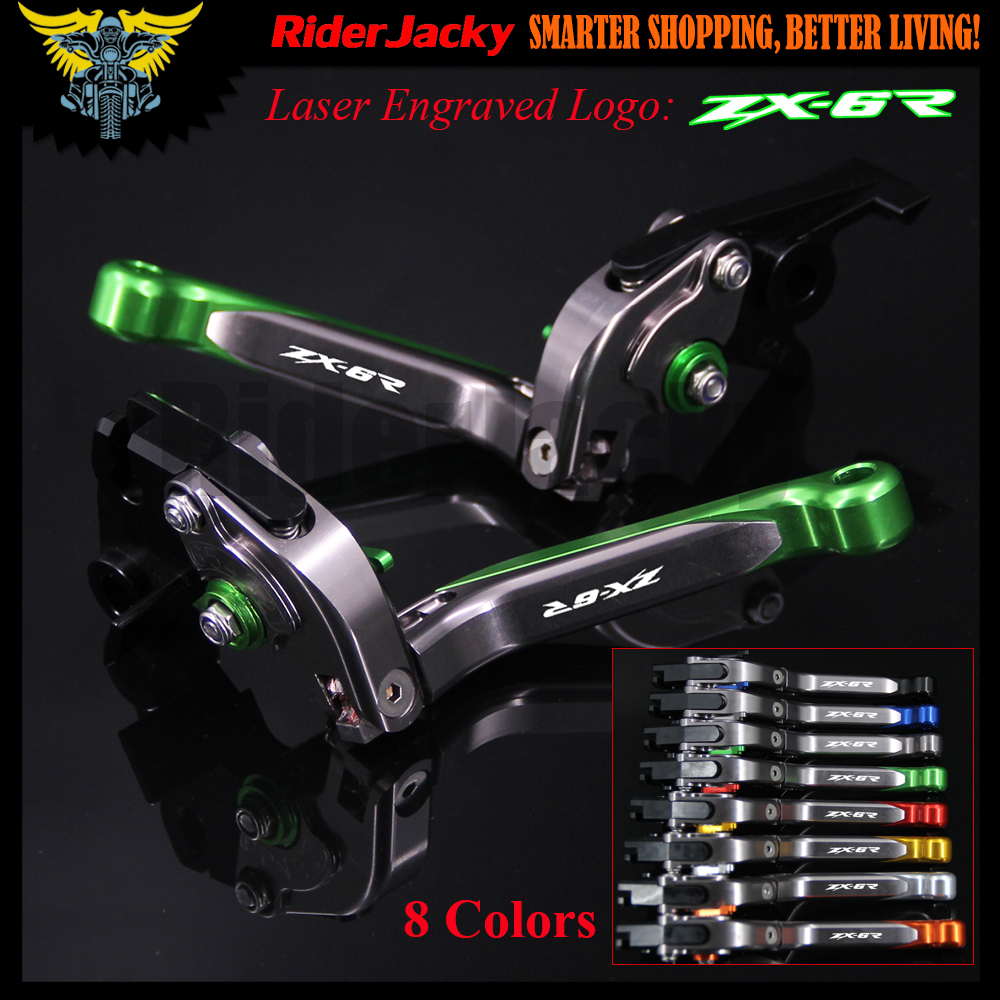 Laser Logo Green&Titanium CNC Adjustable Motorcycle Brake Clutch Levers For Kawasaki ZX6R ZX-6R ZX 6R 2000 2001 2002 2003 2004 1 pair chrome flame shape motorcycle clutch brake hand levers for kawasaki zx 6r 2000 2004 billet aluminum motorbike brake parts
