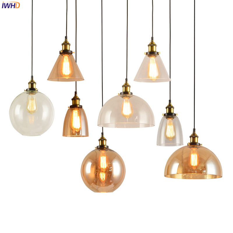 цены IWHD Loft Decor Edison LED Pendant Light Fixtures Dinning Room Glass Retro Vintage Lamp Industrial Lighting Hanging Lights