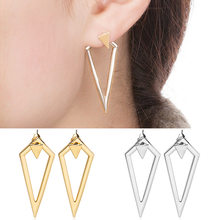 2018 Fashion Jewelry Gold/Silver Plated Double Triangles Stud Earrings Plugs Earrings for Women Girl Elegant Earrings(China)