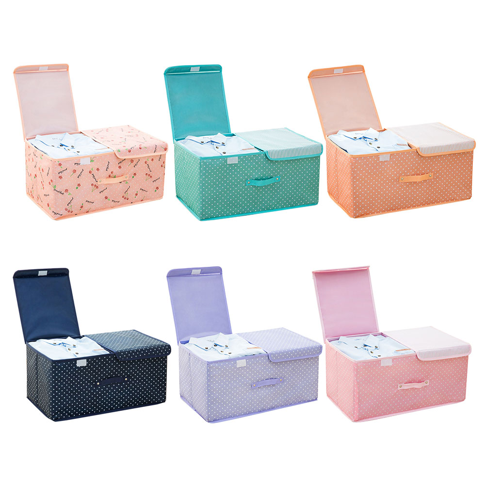 Lid Handle Double Cover Clothes Storage Box Large Capacity