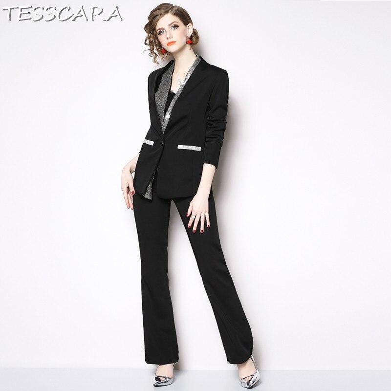 TESSCARA Vrouwen Elegant Sequin Blazer Designer Broek Pak Set Interview Pakken & blazer Hoge Kwaliteit Vrouw Office Dames Blazer-in Broekpak van Dames Kleding op  Groep 3