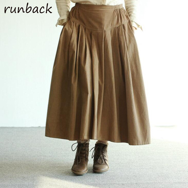 0736d34bcf4 US $28.51 30% OFF|Runback Pleated Corduroy Maxi Skirts Women Solid Pleated  Jupe Longue Chinese Midi Harajuku Skirt Jupe Femme Faldas Largas-in Skirts  ...
