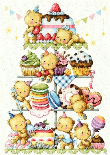 Bear Cake Tower Cartoon Counted Cross Sch Kits Hand Embroidery 14ct Kitchen Dining Room Needlework Wall