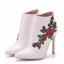 купить Fashion New Ultra High Heels White Pu Leather Shoes Woman Party Wedding Club Female Ladies Shoes Big Size 35-41 XY-A0159 онлайн