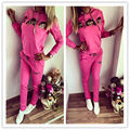 NEW Women Casual Cute Cartoon Monkey Long Sleeve Hooded Sweatshirt And Long Solid Pants Suit Set Spring Clothes For women