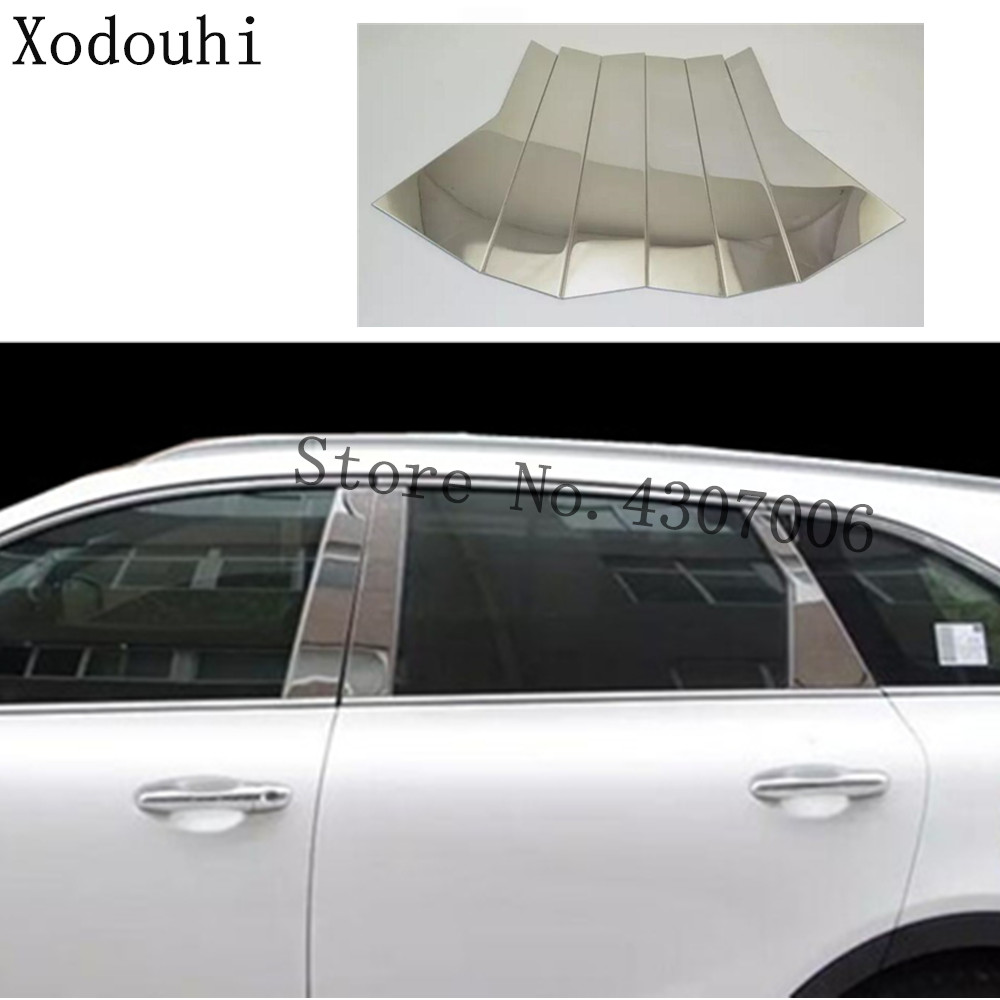 Auto Replacement Parts Contemplative Car Styling Stick Stainless Steel Garnish Pillar Window Middle Strip Trim Frame Lamp 6pcs For Kia Sorento 2015 2016 2017
