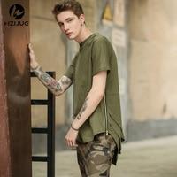 HZIJUE Yan Fermuar Genişletilmiş Adam Erkek Hip Hop Hiphop Swag Uzun rahat Tişörtlü En Tees Justin Bieber Tarzı Giysiler Giyim KANYE