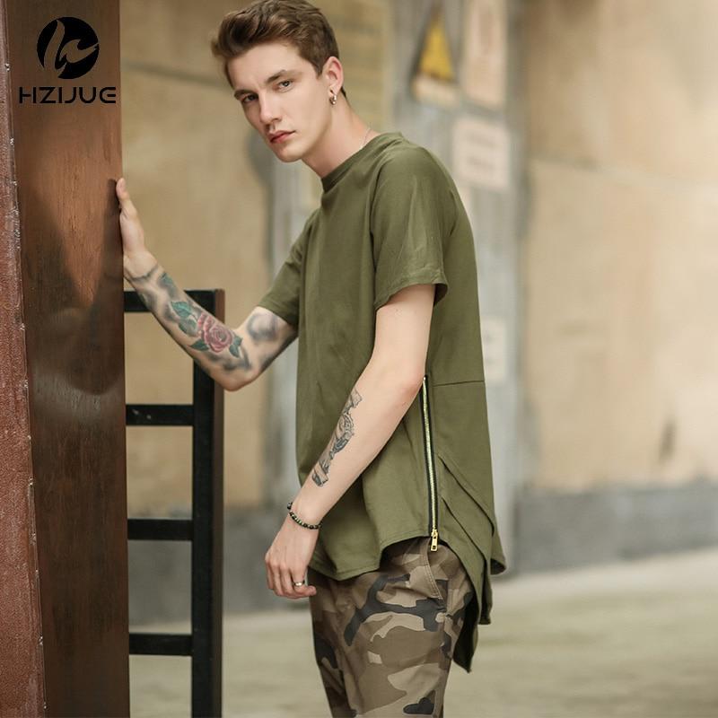 HZIJUE Zíper Lateral Estendido Homem Mens Hip Hop Hiphop Ganhos Longa Camisa ocasional T Top Tees Justin Bieber Roupas de Estilo Roupas KANYE