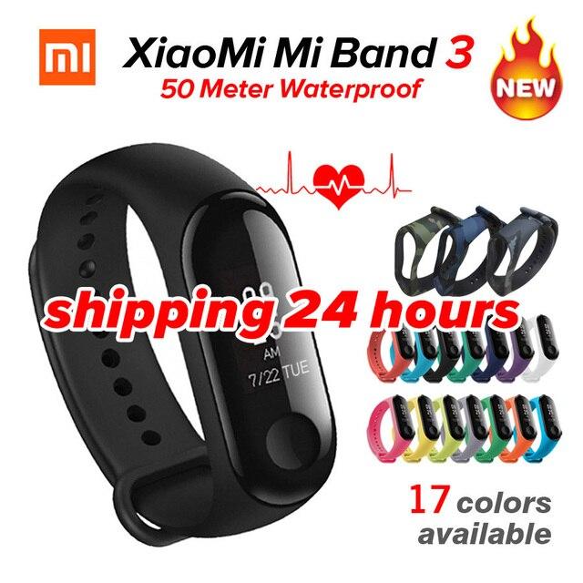 """En Stock Xiaomi mi banda 3 mi banda 3 rastreador de ejercicios Monitor del ritmo cardíaco de la 0,78 """"pantalla OLED Bluetooth 4,2 para Android IOS"""