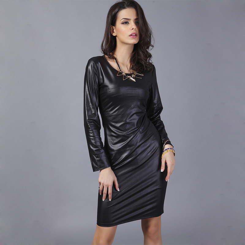 Long Sleeve Leather Dress Pu Bandage Women Black Office Dress Bodycon Plus Size For -8425