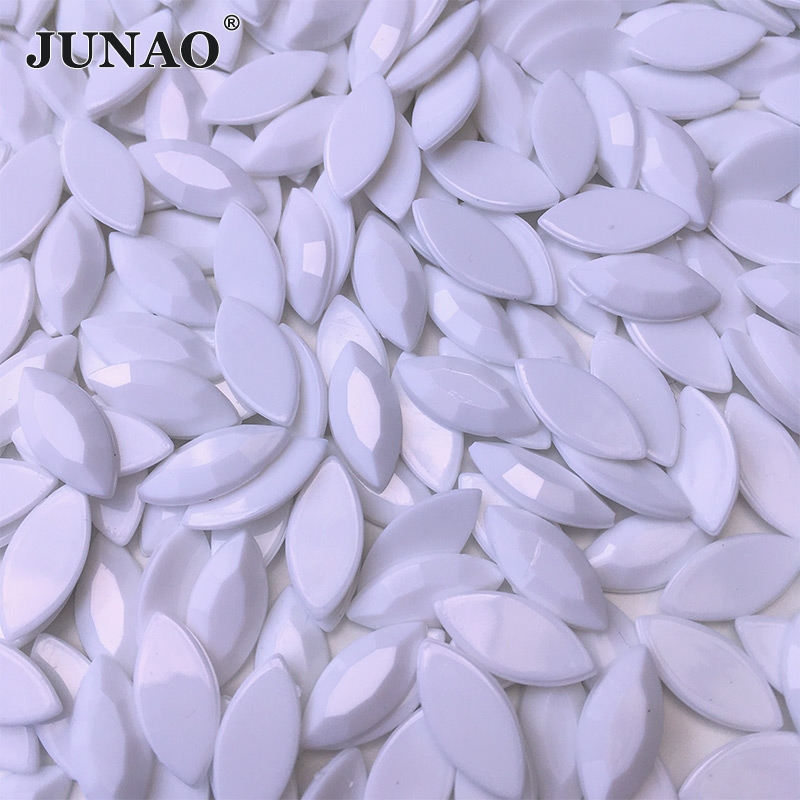 JUNAO 7x15mm White Crystal Flat Back Rhinestones Horse Eye Strass Applique Acrylic Gems Non Sewing Stones and Crystal for Crafts