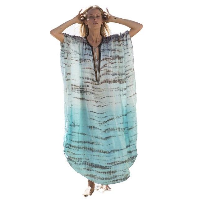 FORERUN Kaftan playa verano playa vestidos largos chifón rayado impreso Bikini cubrir Ups suelta vacaciones ropa de playa túnicas