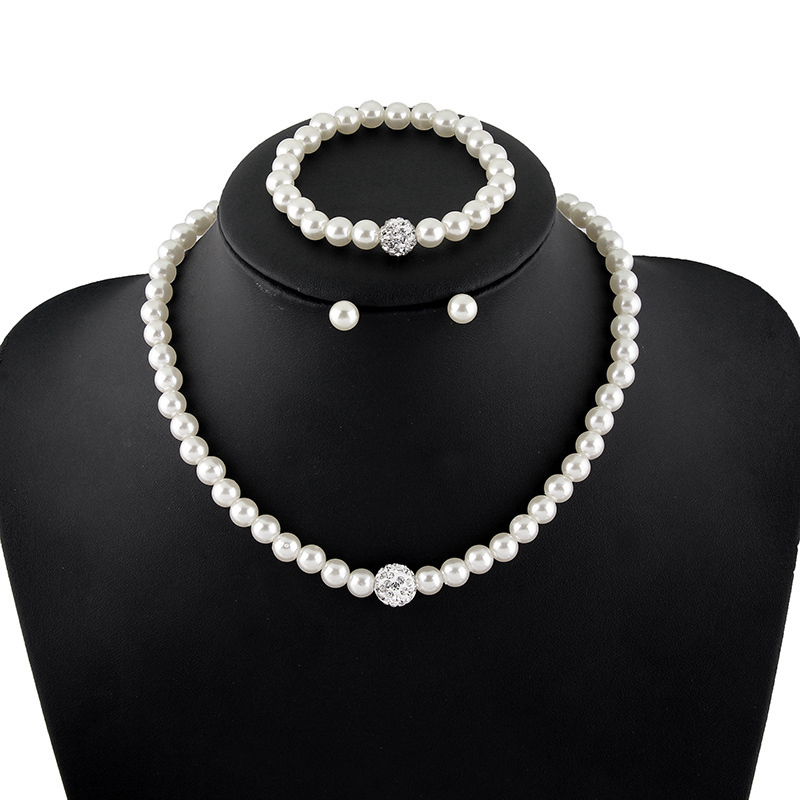 New Arrival Silver Plated Jewelry Sets Bridal Wedding Pearl Necklace Earrings Bracelet White Ivory Crystal For Brides Bangle In From