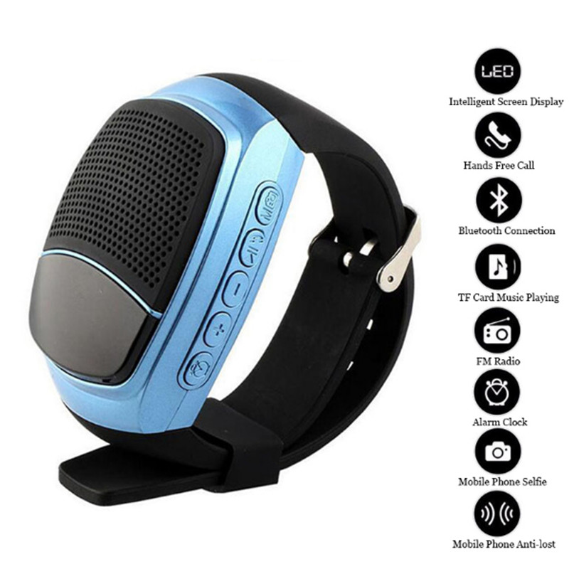 Free Shipping Wireless Wristband Super Bass Bluetooth Speaker Smart Watch Sport Music Player Call Playing FM Radio Self-timer
