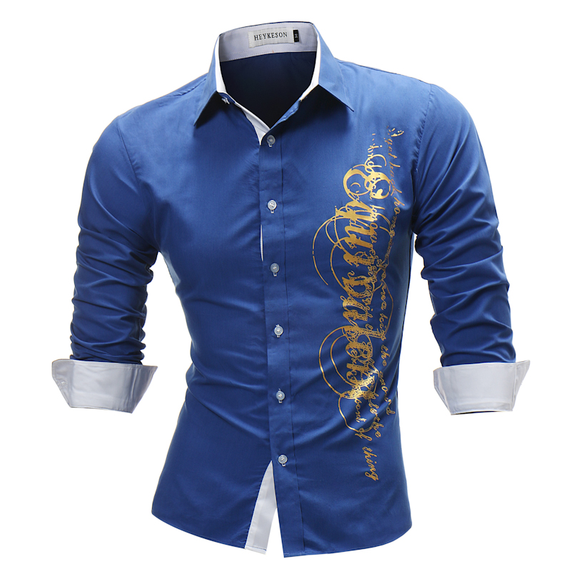 Brand 2018 Fashion Male Shirt Long-Sleeves Tops Letter Print Mens Dress Shirts Slim Men Shirt Plus Size 4XL