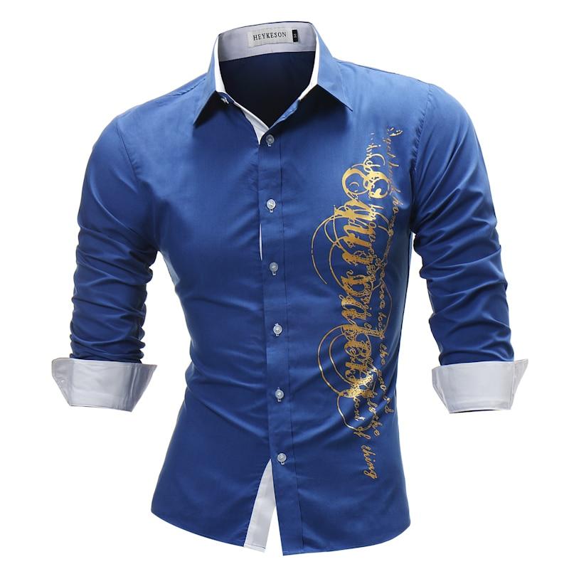 Brand 2018 Fashion Male Shirt Long-Sleeves Tops Letter Print Mens Dress Shirts Slim Men Shirt Plus Size 4XL