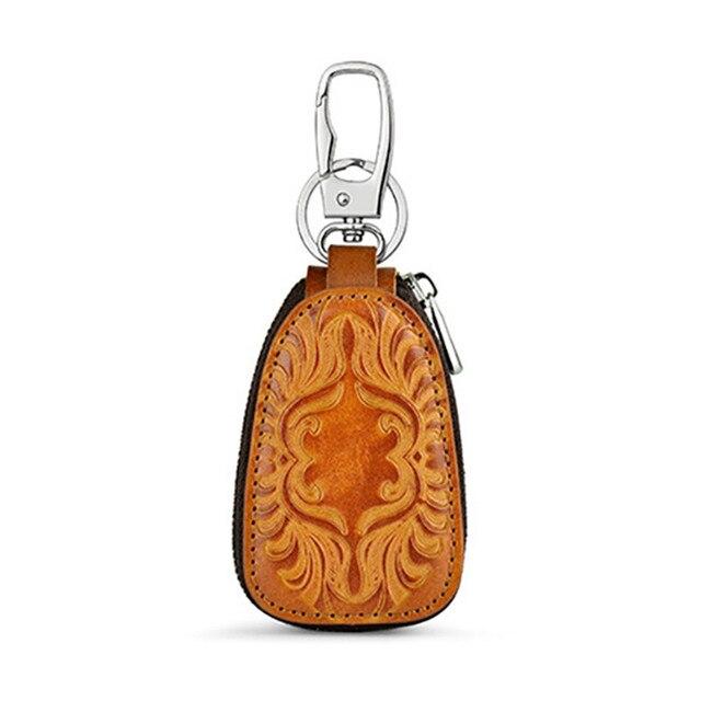 Osmond Men Women Genuine Leather Car Key Holders Housekeeper For Men Retro Multifunctional Home Keychain Case Female Key Wallet