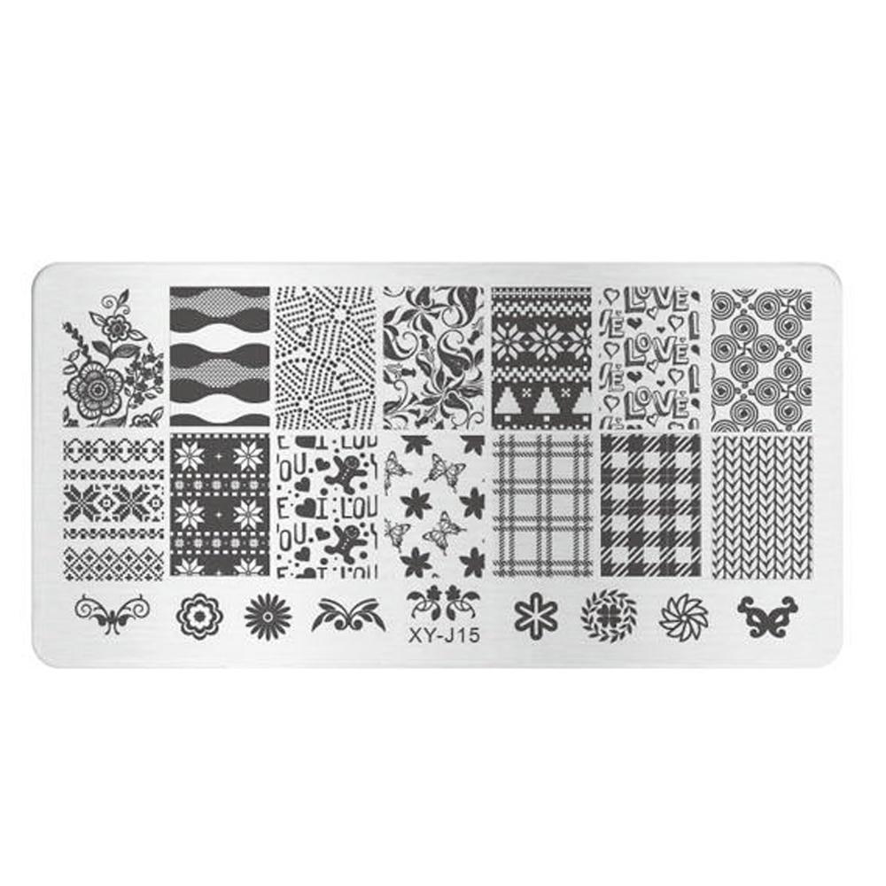 Nagelstudio 1 stücke Liebesbrief/Blume/Grid Printing Nail art ...