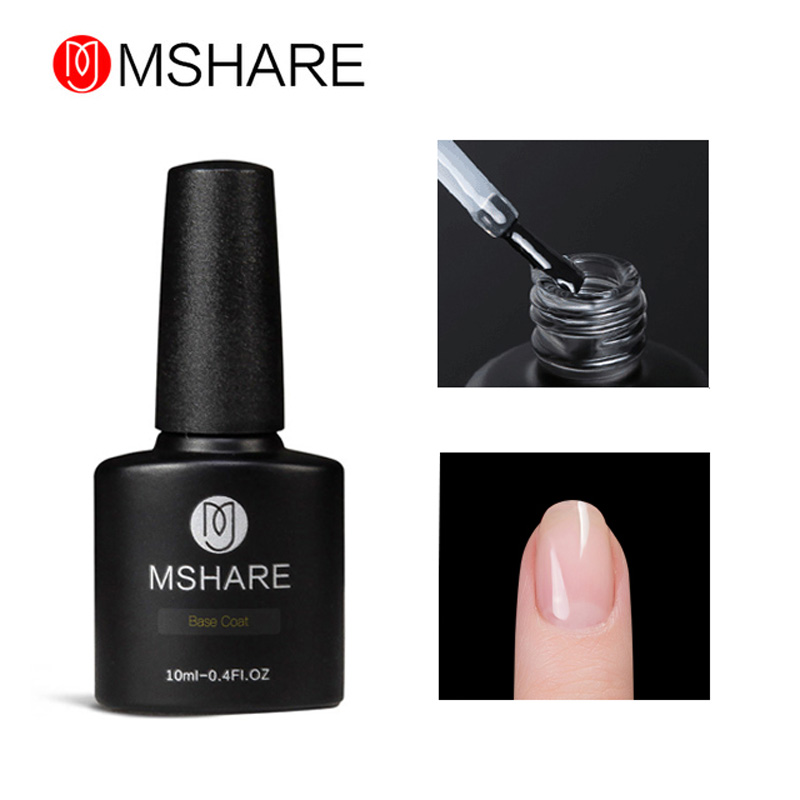 MSHARE Primer Base Coat Gel Varnish Cat Kuku 10 ML Rendam Off Vernis Transparan Gel Kuku Bonder UV Led Removable Lacquer