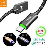 Mcdodo USB кабель для Lightning iPhone XS Max XR 8 7 Быстрая Зарядка Micro кабель для samsung huawei usb Тип C данных Авто мощность Off