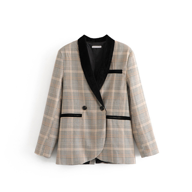 2018 Autumn Velour Patchwork Plaid Women Suits Blazer feminino Vintage Pocket Notched Full Sleeve Jacket Blaser