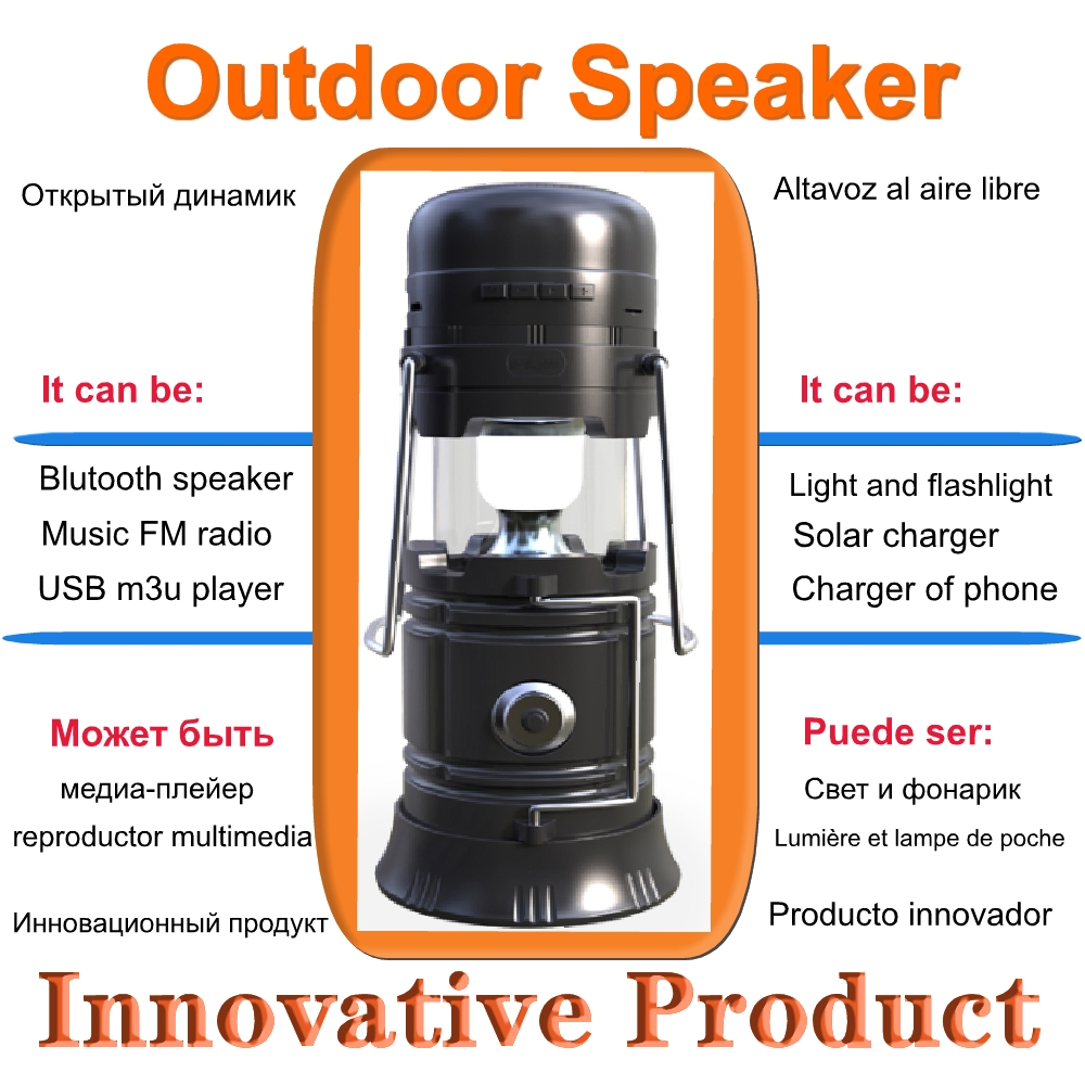 Portable Speakers With Fm Radio Usb LED Mini Portable Outdoor Speaker Bluetooth Wireless Speaker Solar 5w Flashlight Tf Card(China)