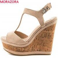 MORAZORA 2019 new arrival women sandals sweet peep toe buckle summer shoes solid colors comfortable wedges platform shoes