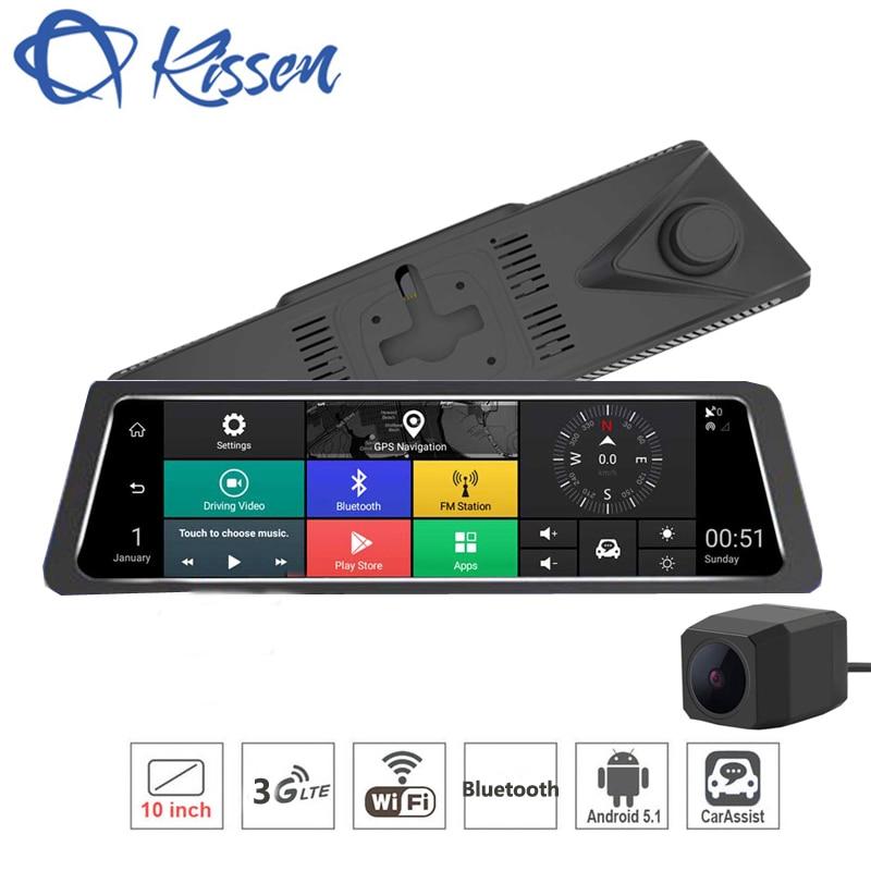 Kissen 10 pouce 3g Android 5.1 Voiture DVR Tactile Dash Cam Rétroviseur Dash Caméra Double Lentille GPS Navigation wifi Bluetooth Radar