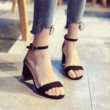 2019 пряжки ремня туфли на высоком каблуке женские сандалии летняя обувь женщины с открытым носком  Лучший!